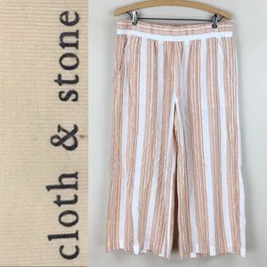Cloth & Stone Wide Leg Striped Linen Cropped Pants